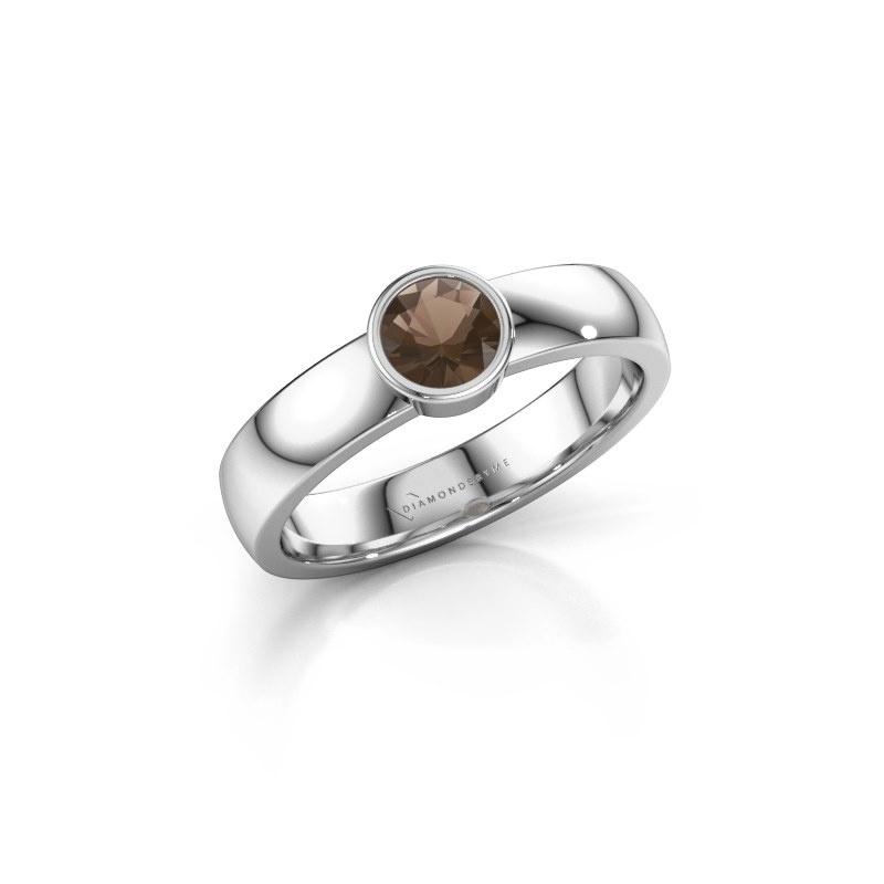Ring Ise 1 950 platinum smokey quartz 4.7 mm