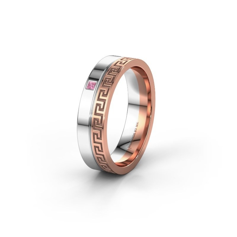 Huwelijksring WH0252L24X 585 rosé goud roze saffier ±4x1.5 mm