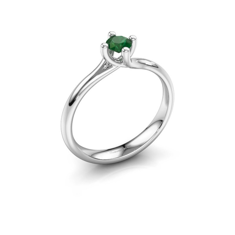 Engagement ring Dewi Round 925 silver emerald 4 mm