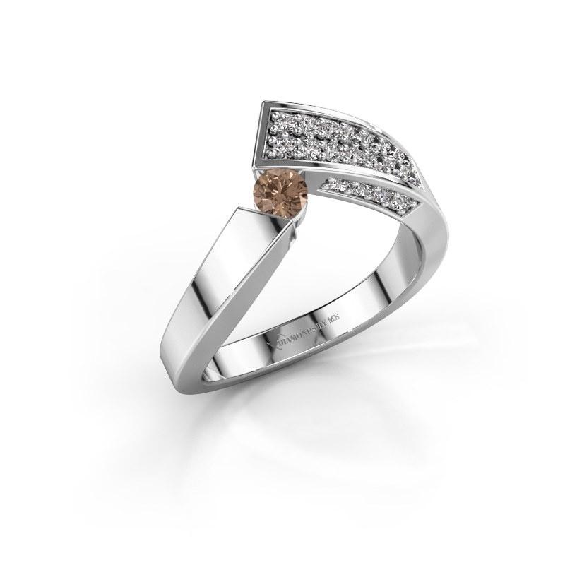 Ring Evie 925 silver brown diamond 0.456 crt