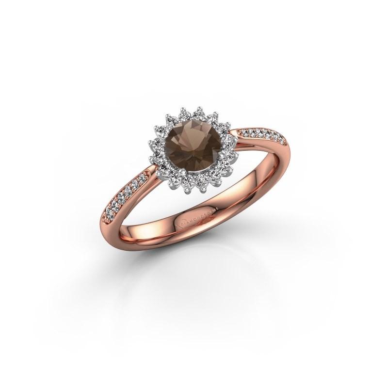 Engagement ring Tilly RND 2 585 rose gold smokey quartz 5 mm