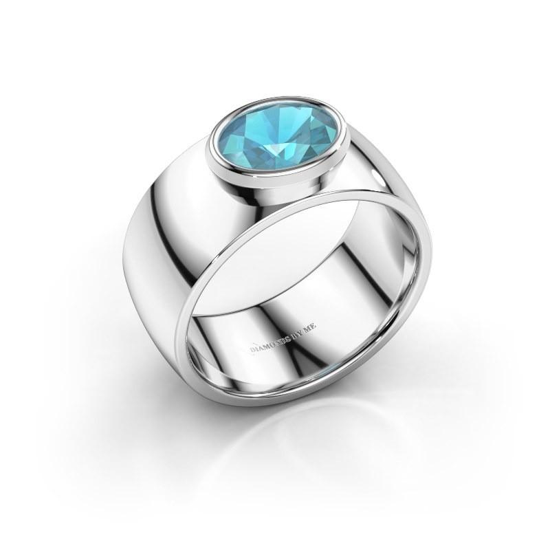 Ring Wilma 1 950 platina blauw topaas 8x6 mm
