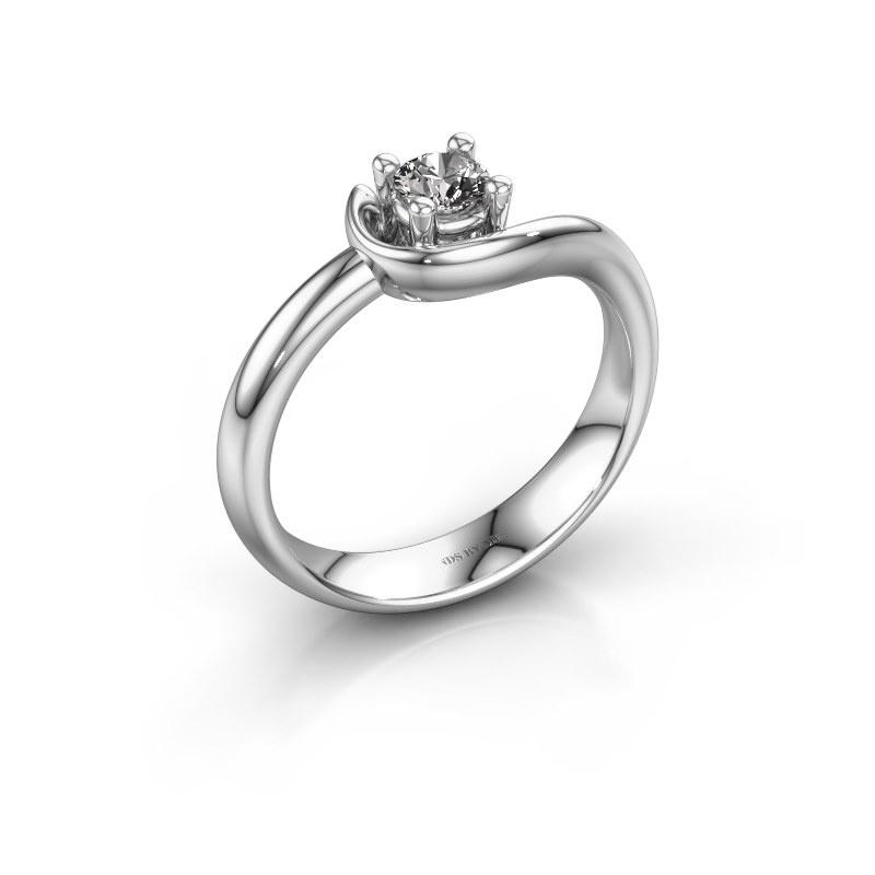 Ring Lot 585 witgoud zirkonia 4 mm