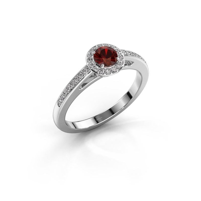 Engagement ring Aaf 950 platinum garnet 4.2 mm