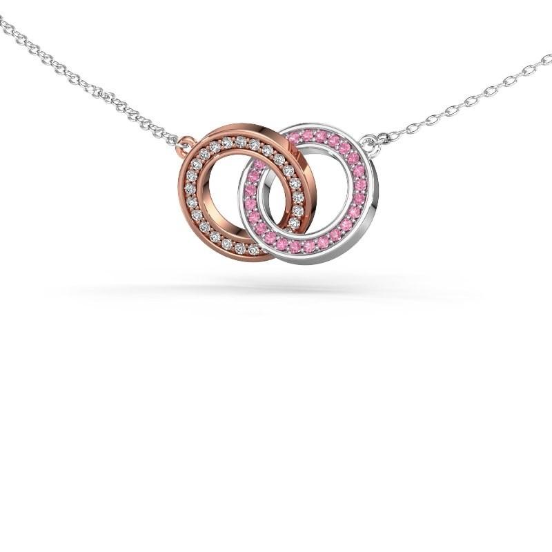Halsketting Circles 2 585 rosé goud roze saffier 1 mm