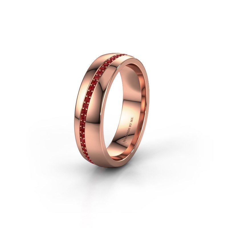 Wedding ring WH0109L25A 375 rose gold ruby ±0.20x0.07 in