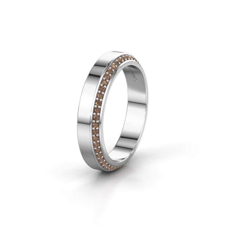 Trouwring WH2106L14C 950 platina bruine diamant ±4x2.2 mm