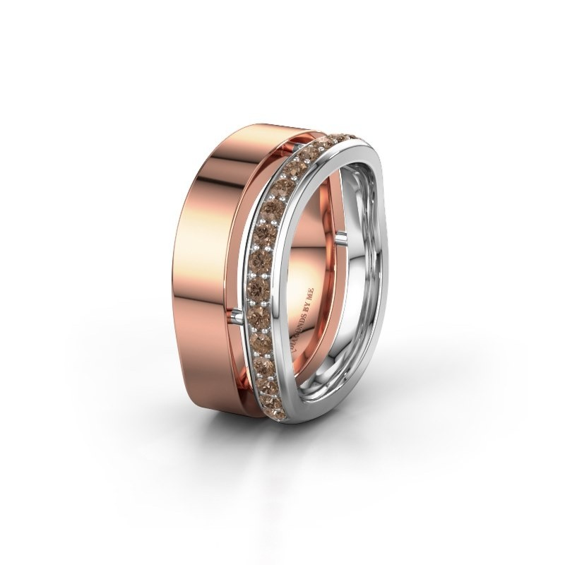 Bague de mariage WH6008L18BP 585 or rose diamant brun ±10x2 mm