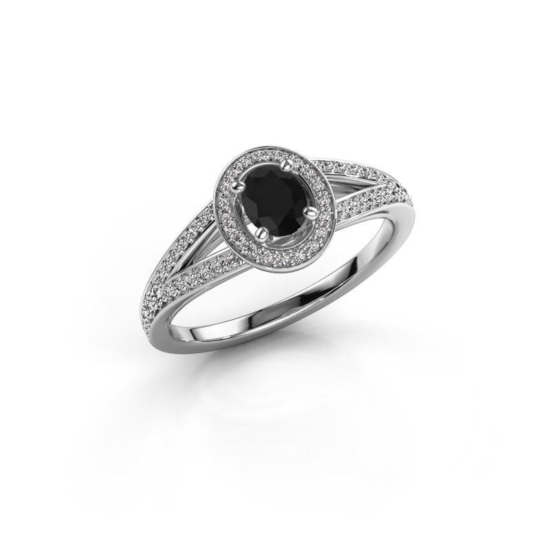 Verlovings ring Angelita OVL 925 zilver zwarte diamant 0.803 crt