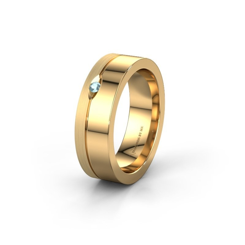 Trouwring WH0329L16B 585 goud aquamarijn ±6x2 mm