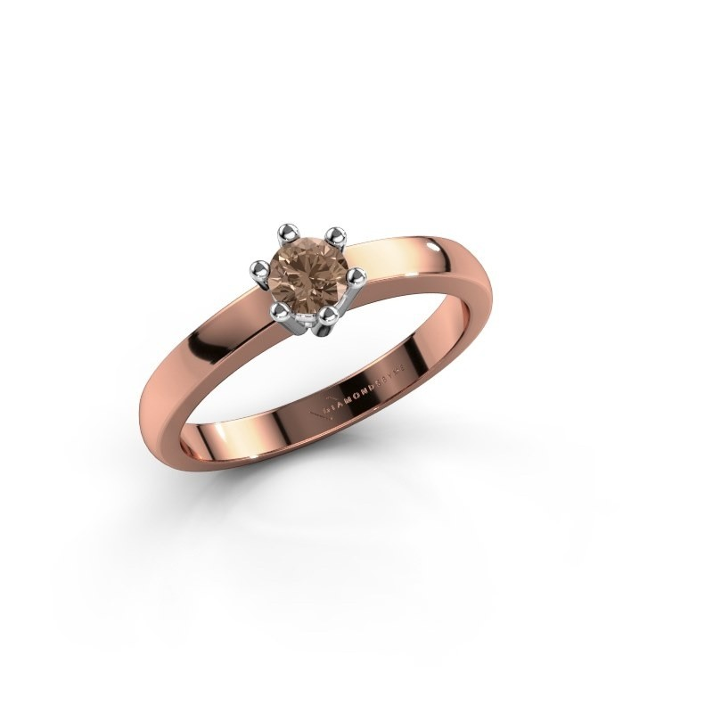 Verlovingsring Luna 1 585 rosé goud bruine diamant 0.20 crt