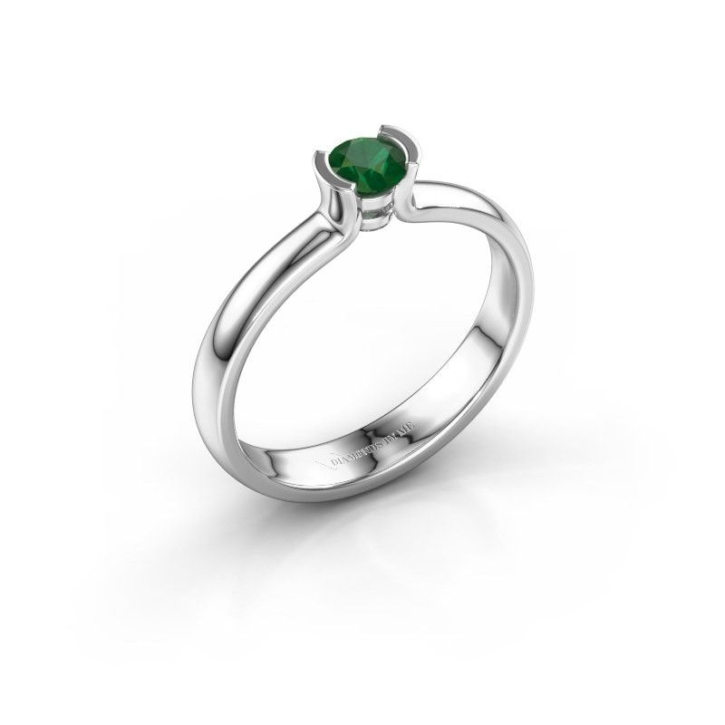 Engagement ring Ophelia 950 platinum emerald 4 mm