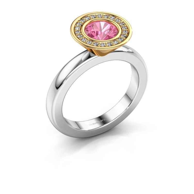 Stapelring Danille 585 witgoud roze saffier 6 mm