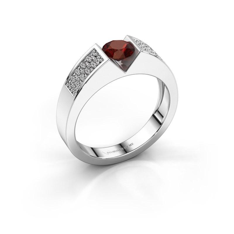 Engagement ring Lizzy 3 950 platinum garnet 5 mm