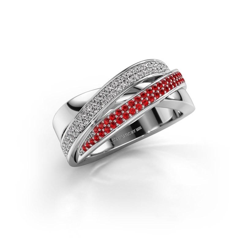 Ring Myra 950 platina robijn 1 mm