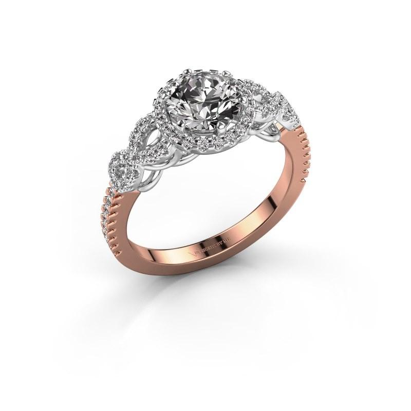 Verlovingsring Sasja 585 rosé goud diamant 1.325 crt