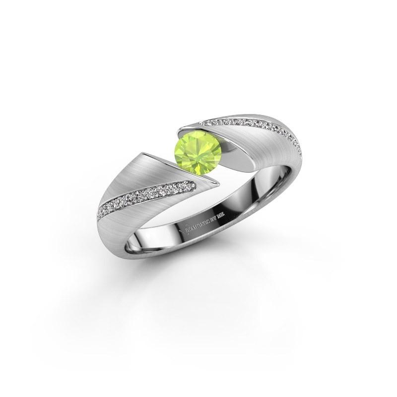 Engagement ring Hojalien 2 925 silver peridot 4.2 mm