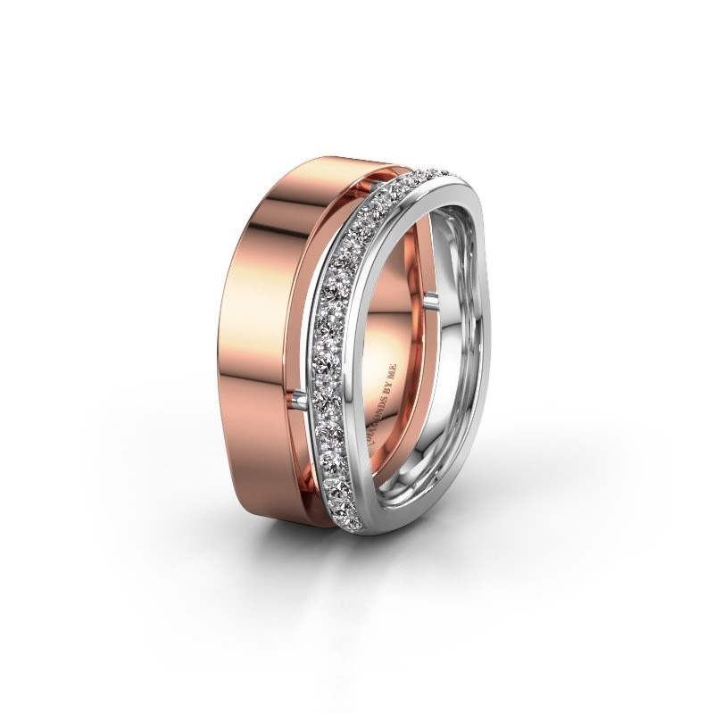 Weddings ring WH6008L18BP 585 rose gold diamond ±10x2 mm