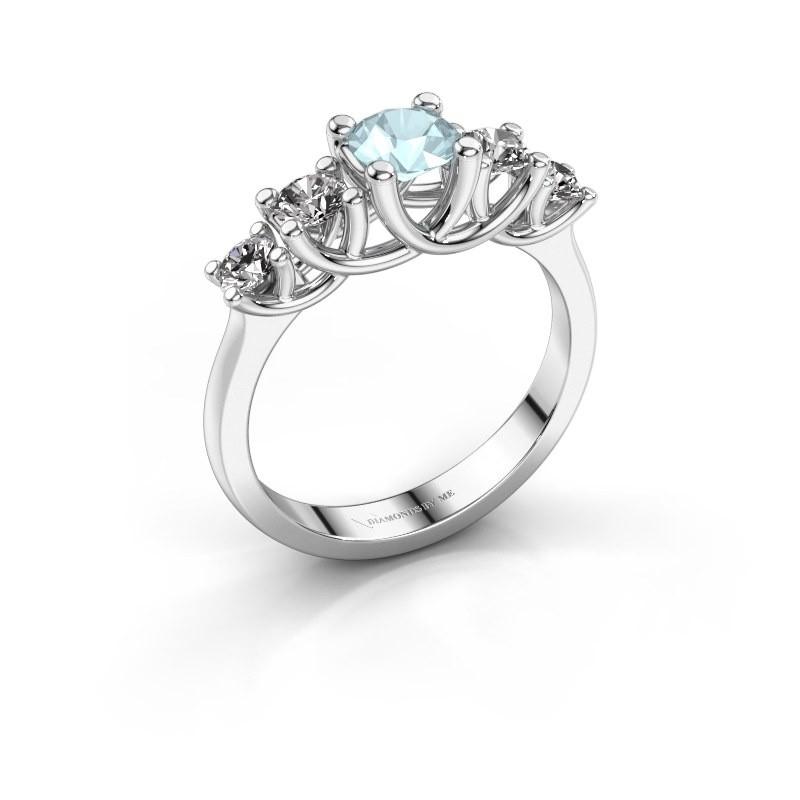 Engagement ring Jet 950 platinum aquamarine 5 mm