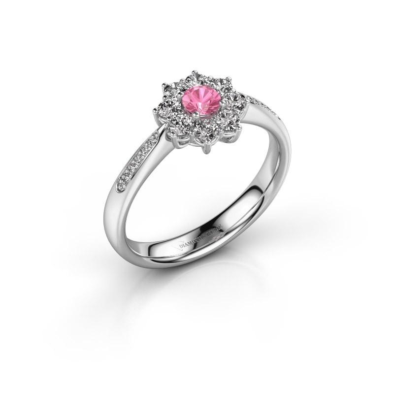 Verlovingsring Carolyn 2 950 platina roze saffier 3.4 mm