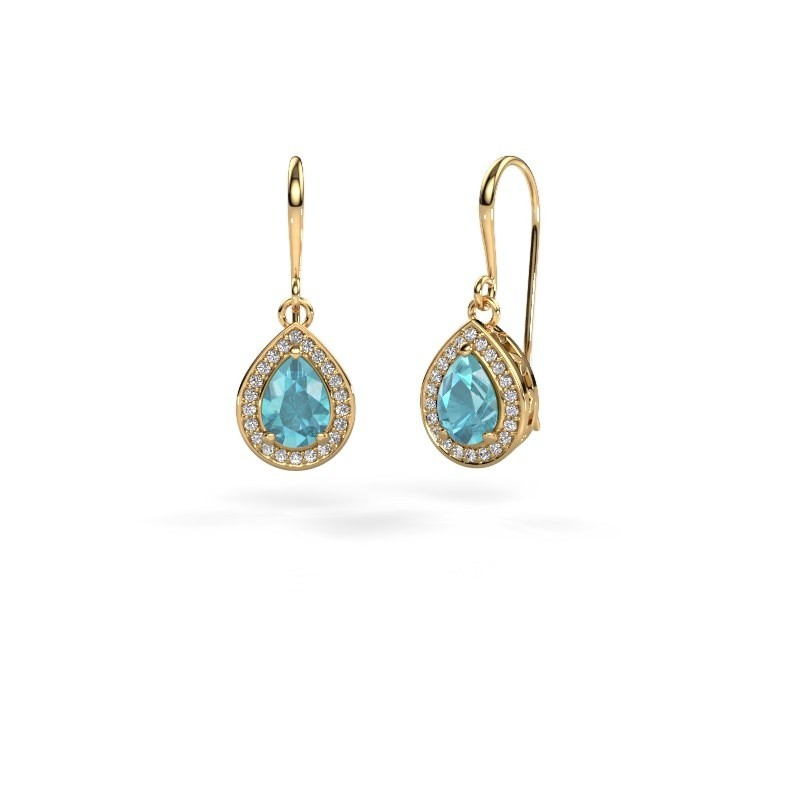 Drop earrings Beverlee 1 375 gold blue topaz 7x5 mm