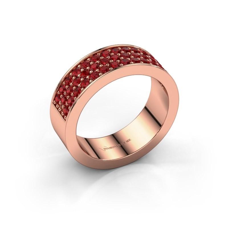 Ring Lindsey 6 375 rose gold ruby 1.7 mm