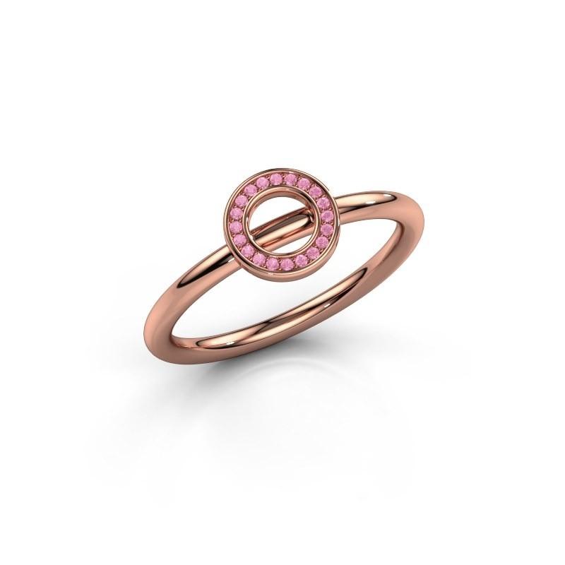 Ring Shape round small 375 rosé goud roze saffier 0.8 mm