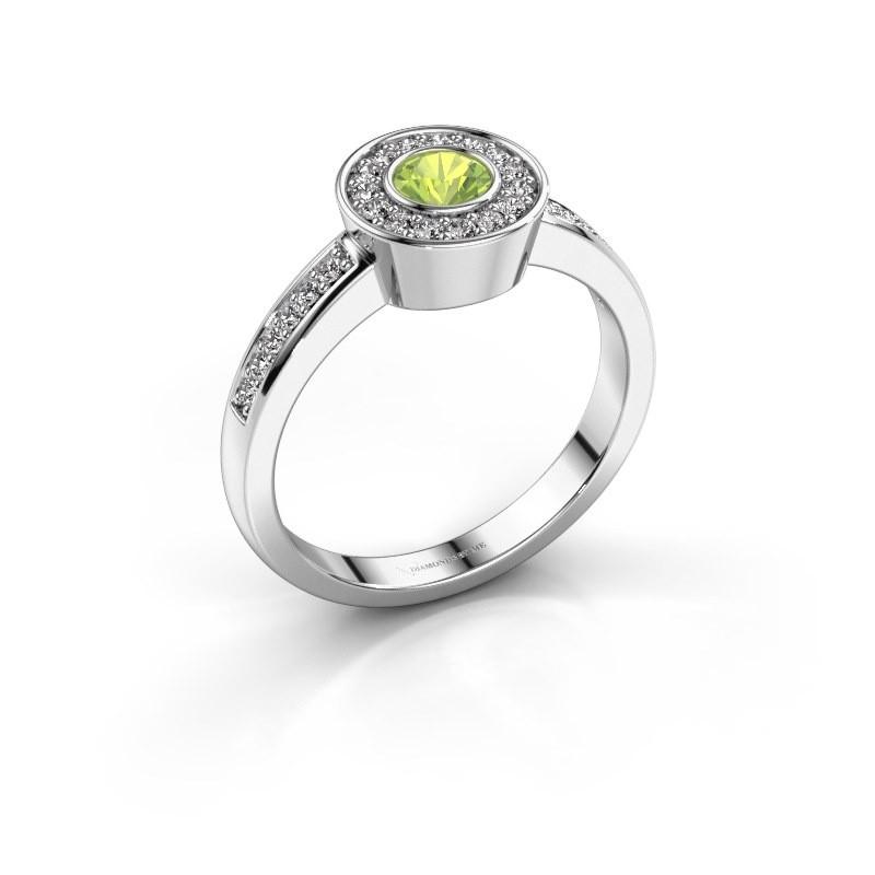 Ring Adriana 2 585 witgoud peridoot 4 mm
