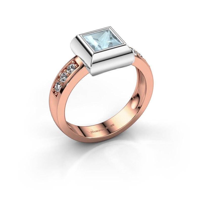 Ring Charlotte Square 585 rose gold aquamarine 5 mm