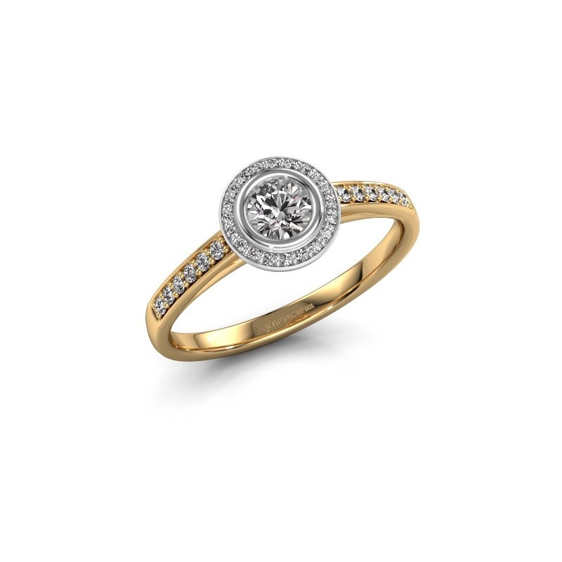 Engagement ring Noud 2 RND 585 gold zirconia 4 mm
