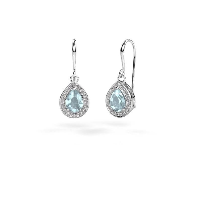 Drop earrings Beverlee 1 585 white gold aquamarine 7x5 mm