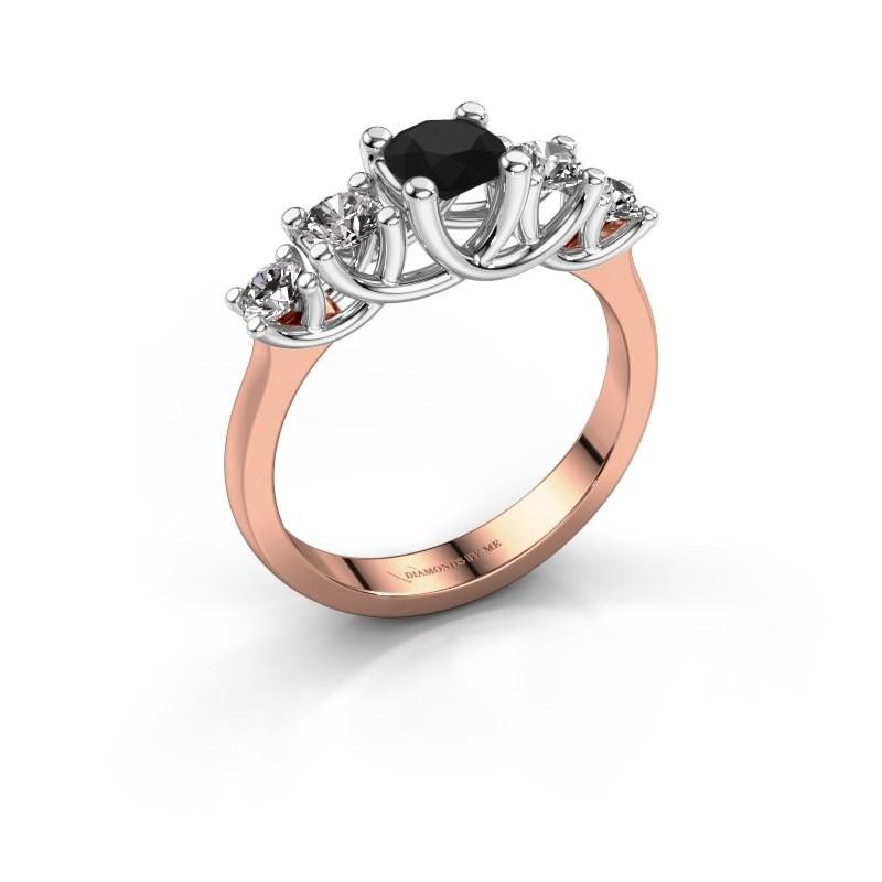Engagement ring Jet 585 rose gold black diamond 1.100 crt