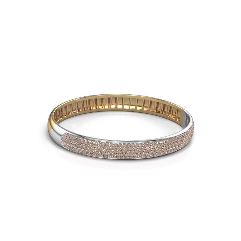 Slavenarmband Emely 8mm 585 goud bruine diamant 3.036 crt
