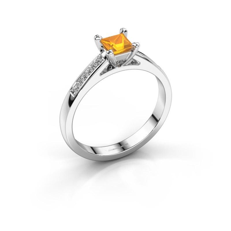 Engagement ring Nynke SQR 585 white gold citrin 4 mm