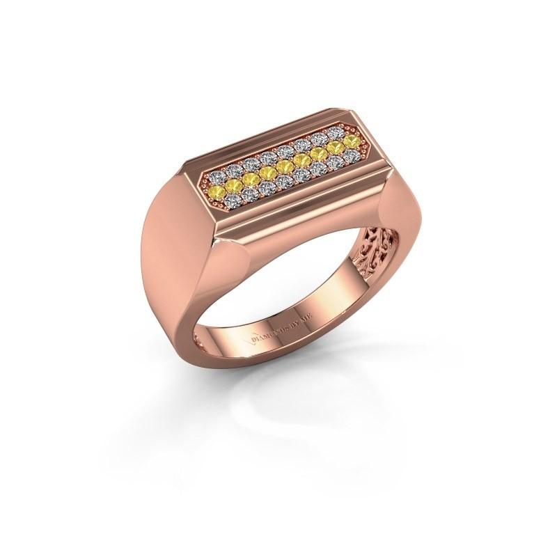 Heren ring Gerard 375 rosé goud gele saffier 1.4 mm