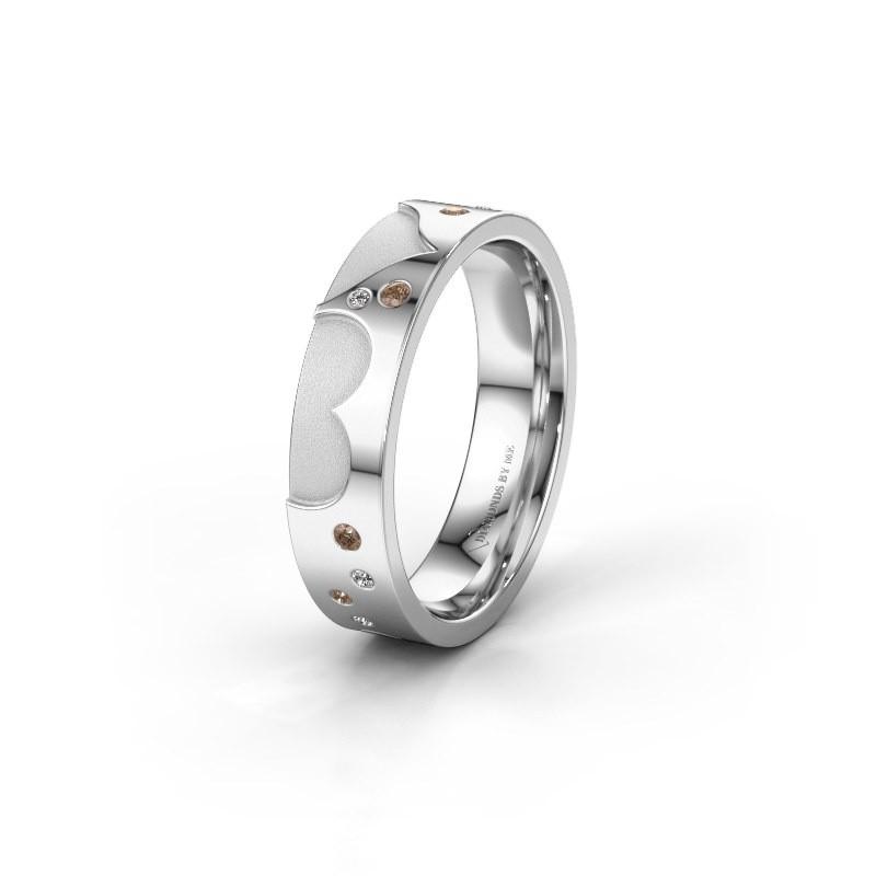Trouwring WH2114L25A 950 platina bruine diamant ±5x1.7 mm
