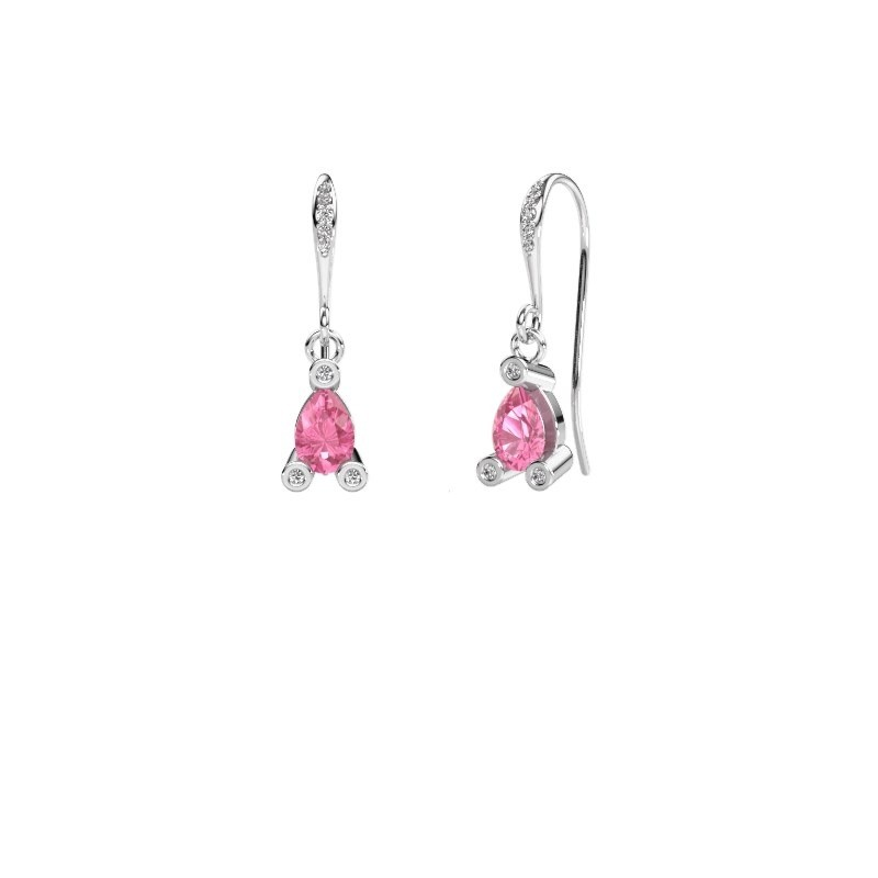 Drop earrings Bunny 2 375 white gold pink sapphire 7x5 mm