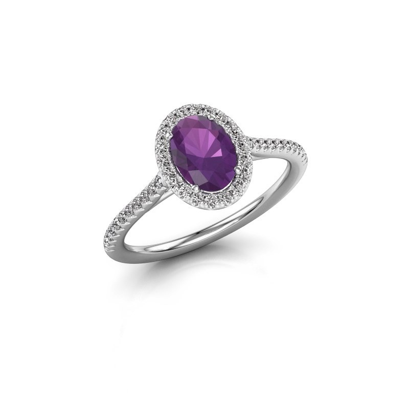 Engagement ring Seline 2 585 white gold amethyst 7x5 mm