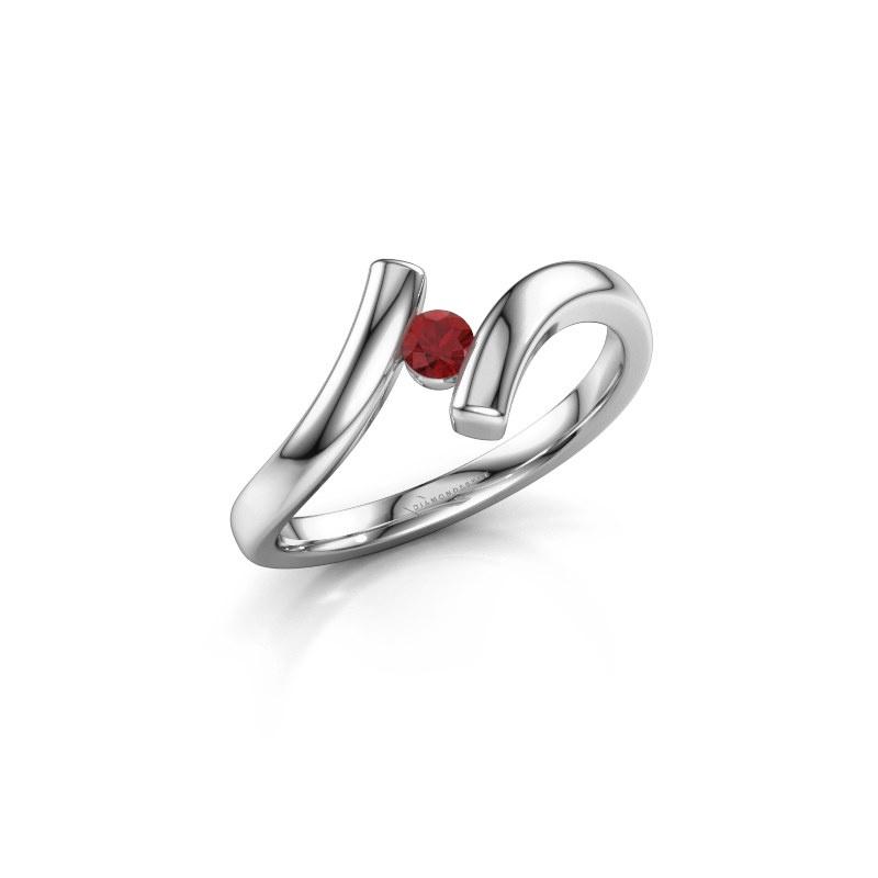 Ring Amy 585 witgoud robijn 3 mm