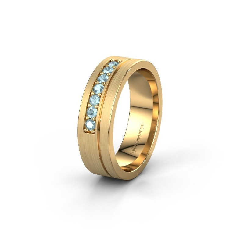 Trouwring WH0312L16AM 585 goud aquamarijn ±6x1.7 mm
