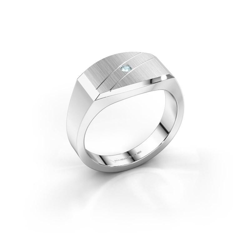 Men's ring Joe 3 585 white gold aquamarine 2 mm