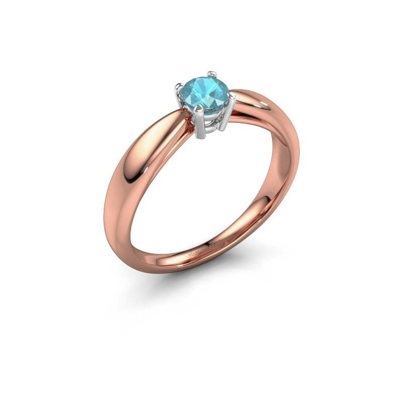 Verlovingsring Nichole 585 rosé goud blauw topaas 4.2 mm
