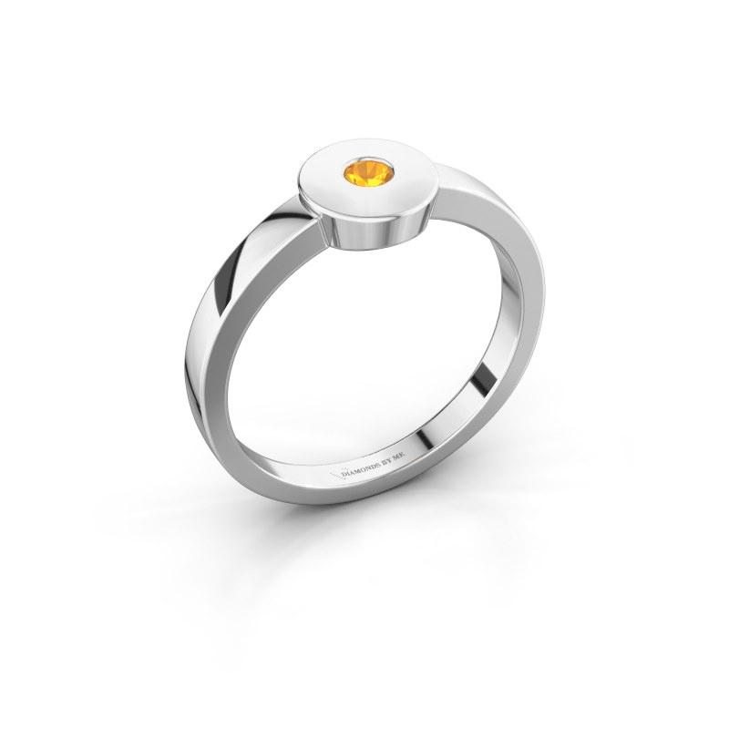 Ring Elisa 585 Weißgold Citrin 3 mm