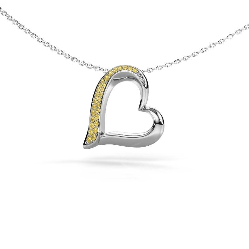 Collier Heart 1 925 argent saphir jaune 1.2 mm