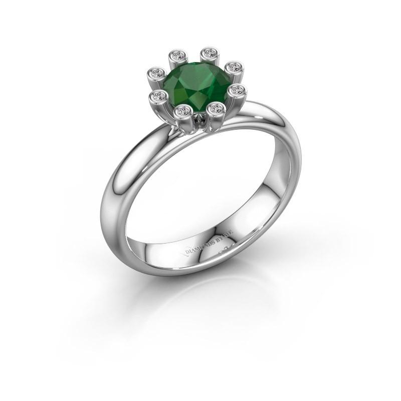 Stapelring Carola 3 585 witgoud smaragd 6 mm