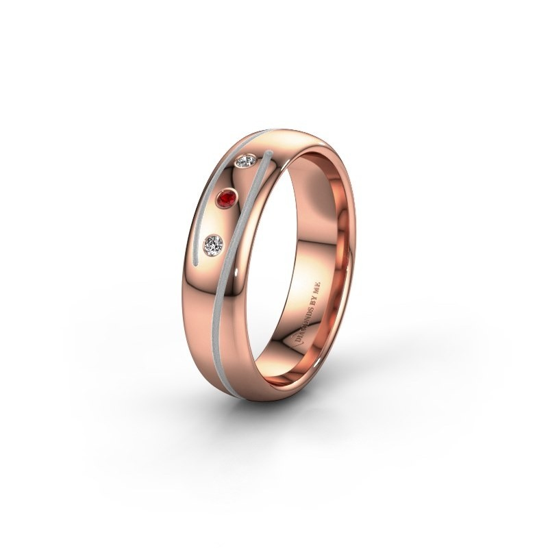 Wedding ring WH0152L25A 585 rose gold ruby ±5x1.7 mm