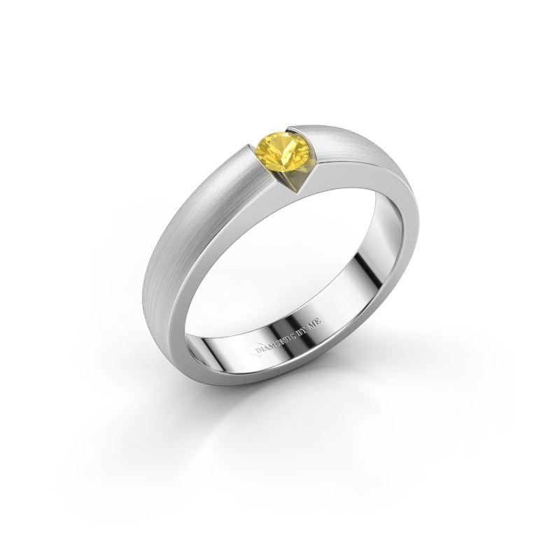 Verlobungsring Theresia 585 Weißgold Gelb Saphir 3.4 mm