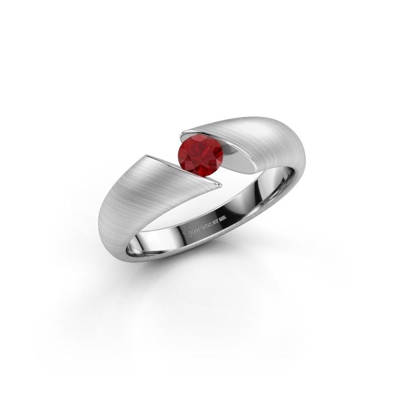 Verlovingsring Hojalien 1 925 zilver robijn 4 mm