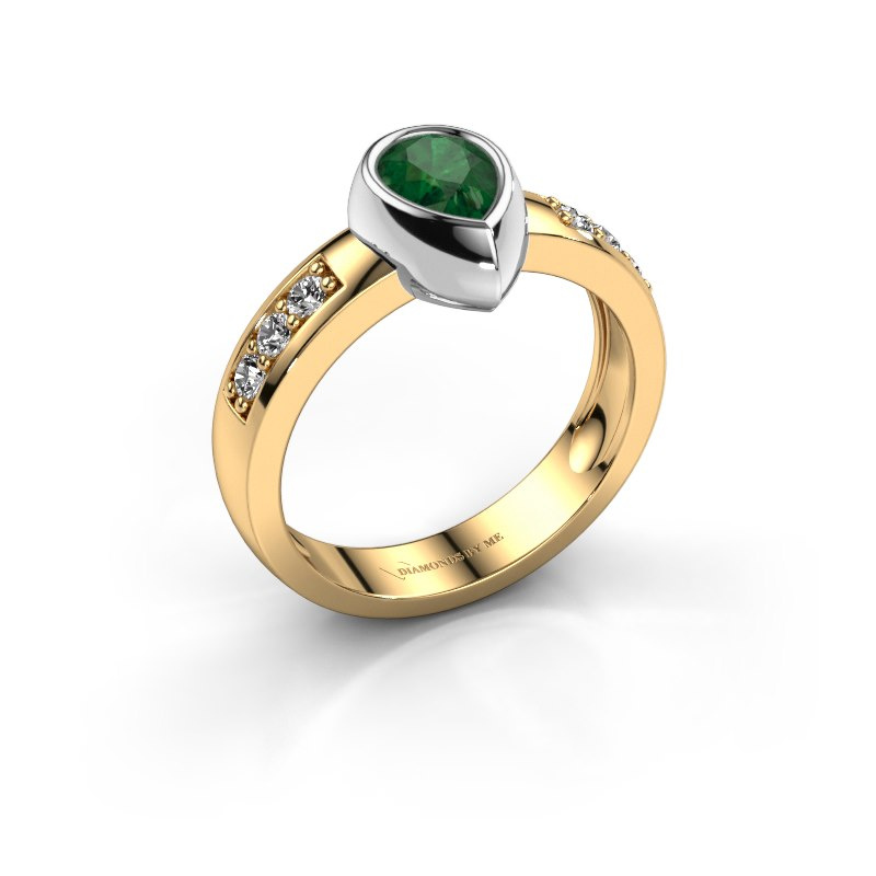 Ring Charlotte Pear 585 gold emerald 8x5 mm