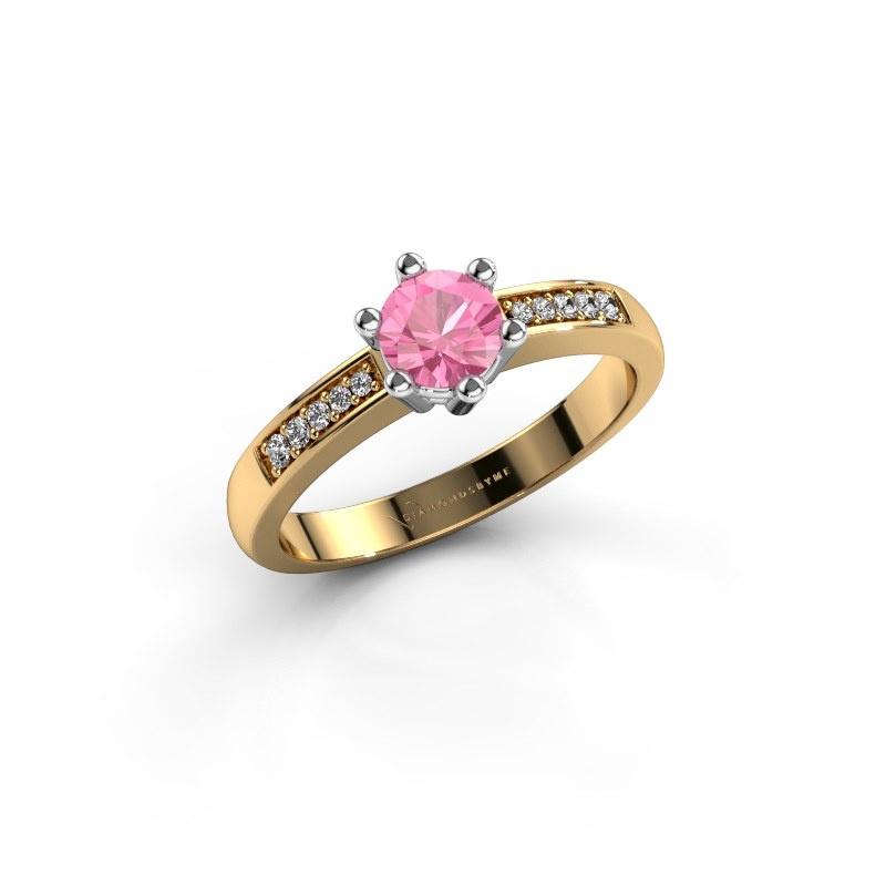 Verlovingsring Luna 2 585 goud roze saffier 5 mm